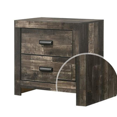 Plank Design 2 Drawer Wooden Nightstand with Horizontal Pulls Brown By Casagear Home BM222440