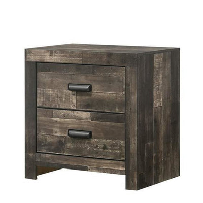 Plank Design 2 Drawer Wooden Nightstand with Horizontal Pulls, Brown By  Casagear Home