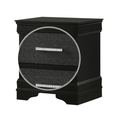 2 Drawer Wooden Nighstand with Horizontal Pull and Studded Accent Black By Casagear Home BM222442