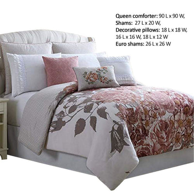 Ghent 8 Piece Queen Comforter Set with Floral Panel Print Multicolor By Casagear Home BM222751