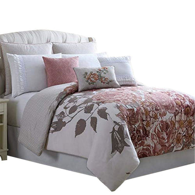 Ghent 8 Piece Queen Comforter Set with Floral Panel Print , Multicolor By Casagear  Home