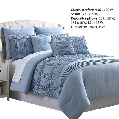 Bratislava 8 Piece Queen Comforter Set with Pinch Pleating Blue By Casagear Home BM222757