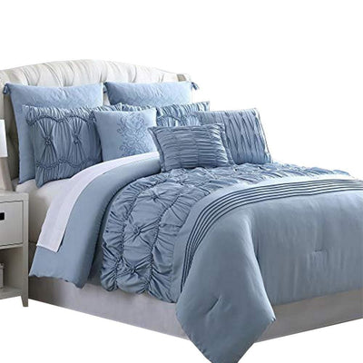 Bratislava 8 Piece Queen Comforter Set with Pinch Pleating , Blue By Casagear  Home