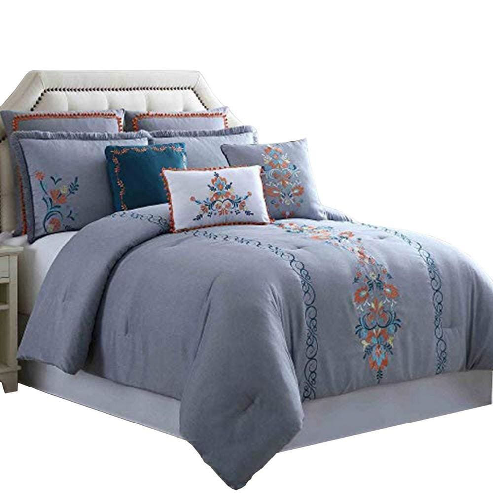 Odense 8 Piece Queen Comforter Set with Floral Embroidery , Multicolor By Casagear  Home