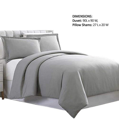 Horten 3 Piece Full Size Microfiber Duvet Set Light Gray By Casagear Home BM222961