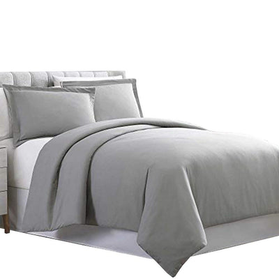 Horten 3 Piece Full Size Microfiber Duvet Set , Light Gray By Casagear  Home