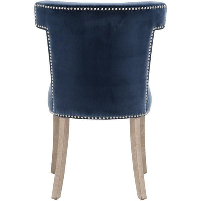 Fabric Sculpted Wingback Dining Chair Saber Legs Set of 2 Blue By Casagear Home BM223000