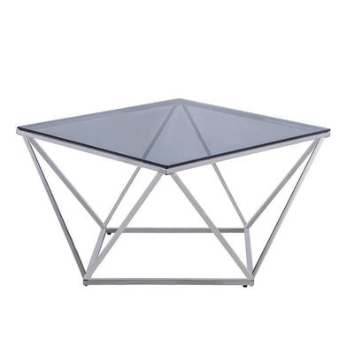 Tempered Glass Top Cocktail Table with Geometric Base,Chrome By Casagear Home BM223127
