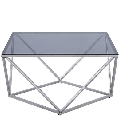 Tempered Glass Top Cocktail Table with Geometric Base,Chrome By Casagear Home
