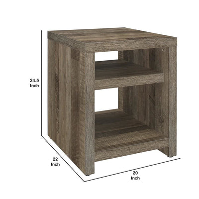 24 Wooden Frame End Table with 2 Open Shelves Brown By Casagear Home BM223128