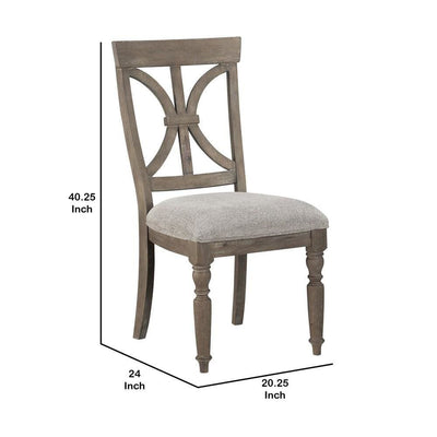 Geometric Back Padded Side Chair Set of 2 Brown and Gray By Casagear Home BM223141