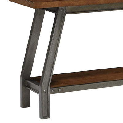 52 Wooden & Metal Sofa Table with Open Shelf Brown & Gray By Casagear Home BM223149