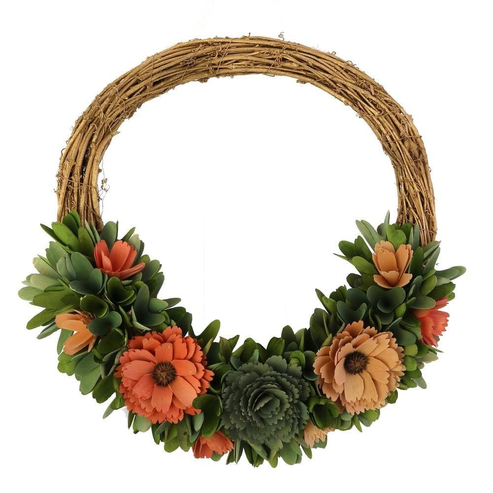 Wooden Shaving Wreath with Floral Details, Brown and Pink By Casagear Home