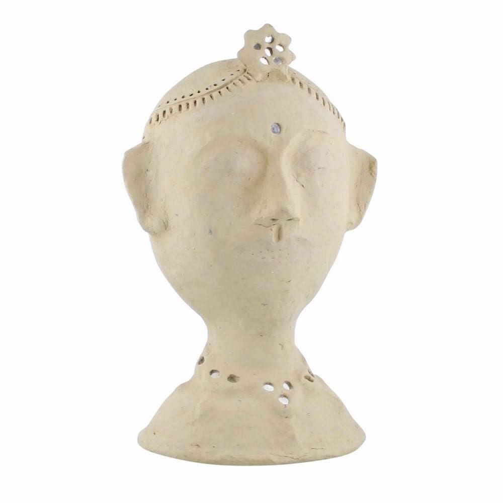 Paper Mash Female Bust with Mirror Detailing, Beige By Casagear Home