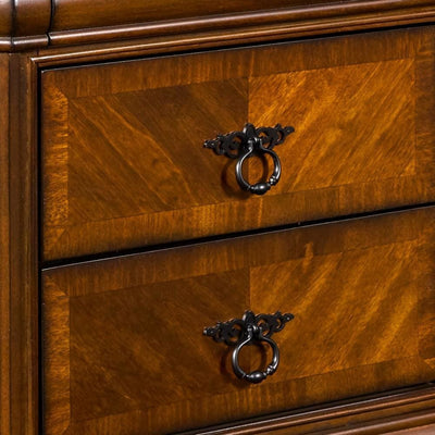 3 Drawer Wooden Nightstand with Sled Base and Metal Ring Pulls Brown By Casagear Home BM223262