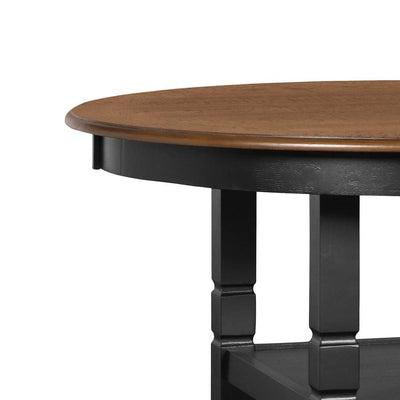 Round Wooden Counter Table with Two Open Shelves Black and Brown By Casagear Home BM223264