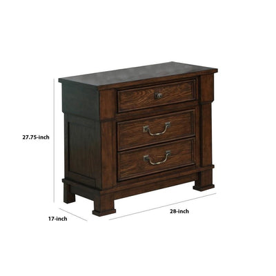 3 Drawer Wooden Nightstand with Metal Bar Handle and Knobs Brown By Casagear Home BM223278