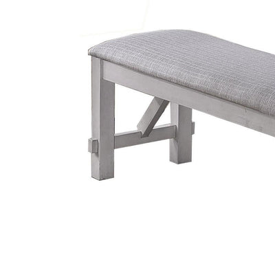 Fabric Upholstered Wooden Bench with Braces Gray By Casagear Home BM223370