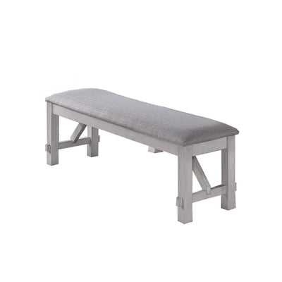 Fabric Upholstered Wooden Bench with Braces, Gray By Casagear Home