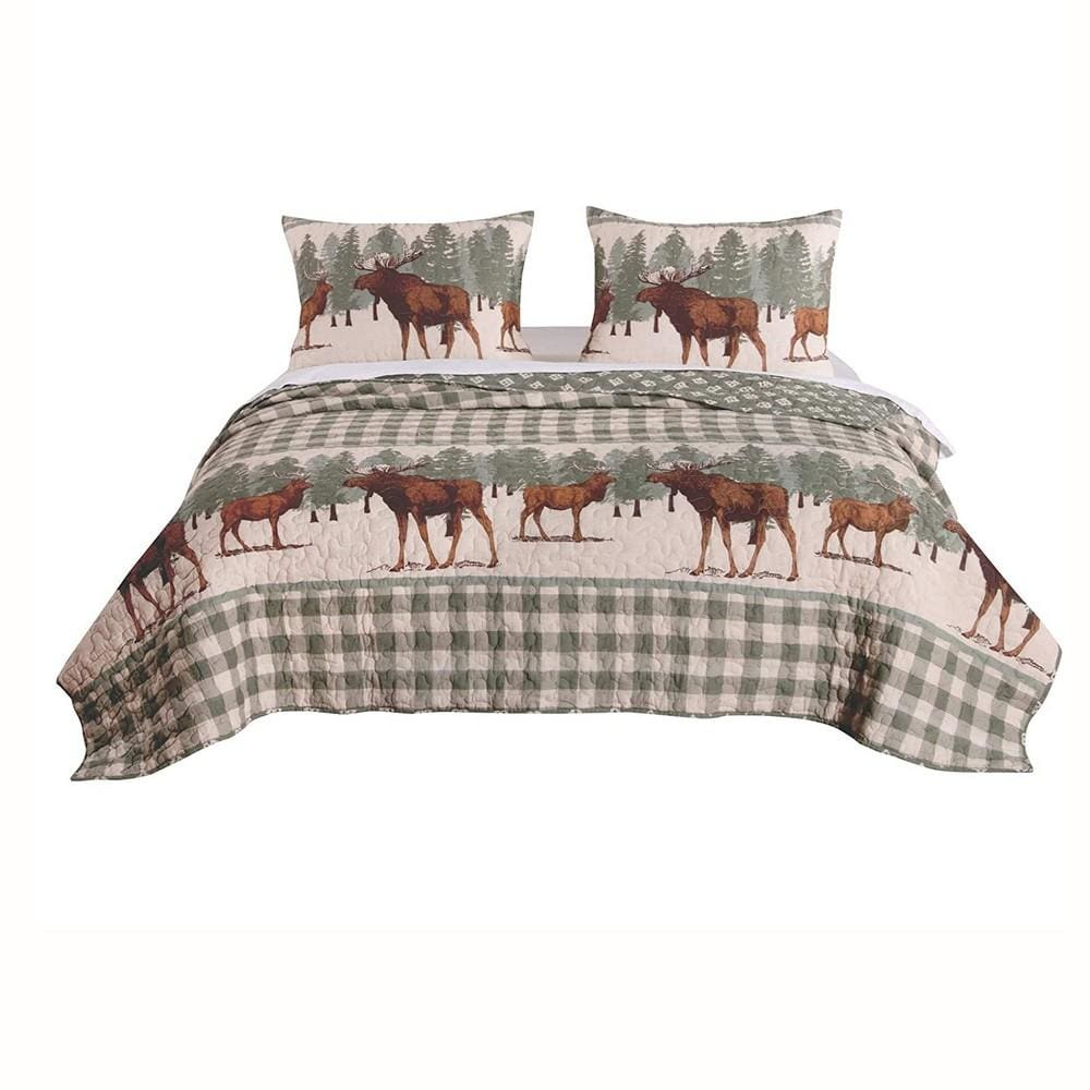 Fabric King Size Quilt Set with Animal and Plaid Print, Green and Brown By Casagear Home