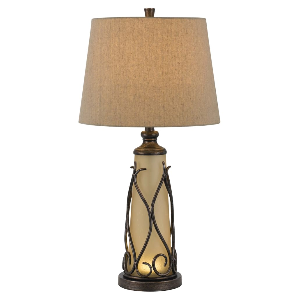3 Way Table Tamp with Frosted Glass Body and Fabric Shade, Beige and Bronze By Casagear Home