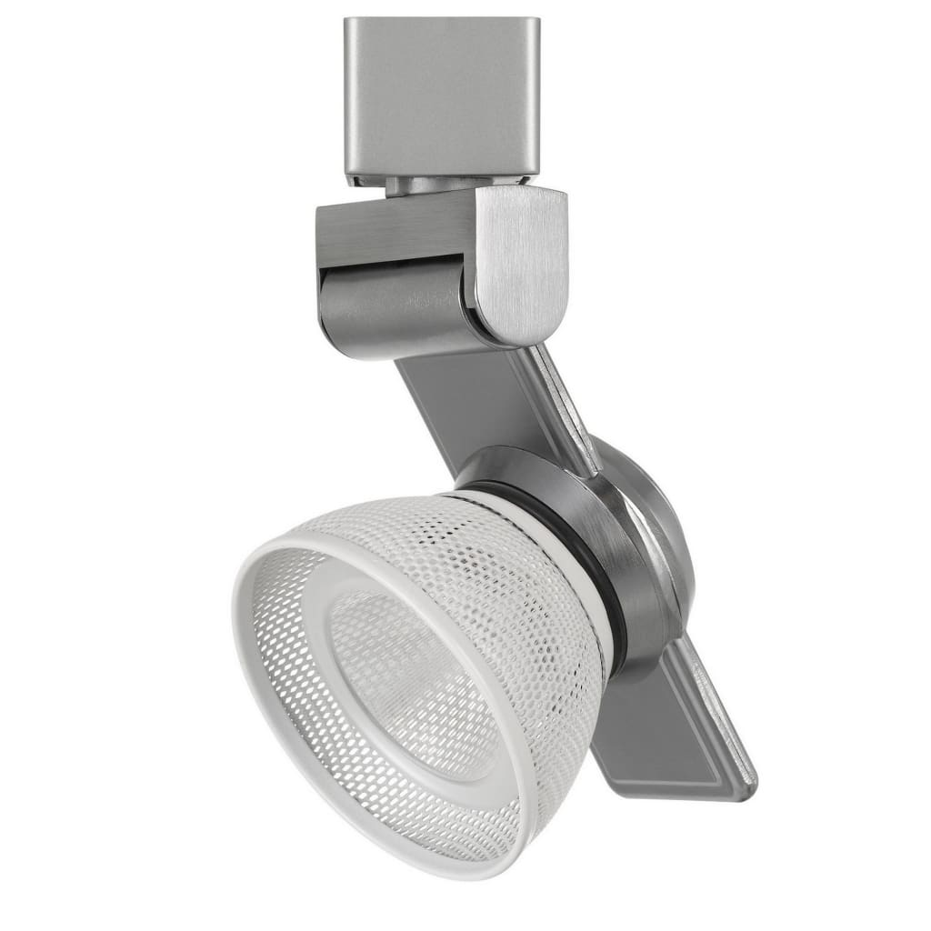 12W Integrated LED Metal Track Fixture with Mesh Head, Silver and White By Casagear Home