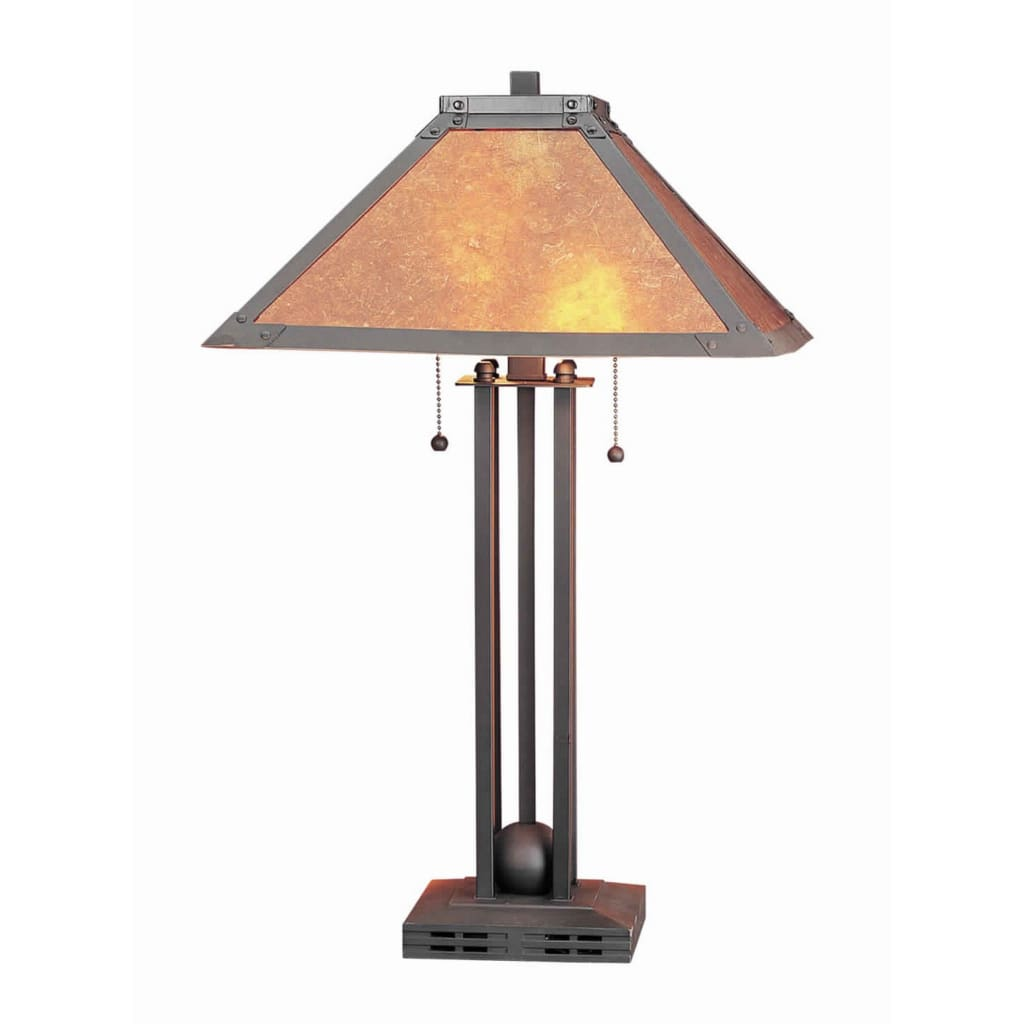 Ball Inlay Metal Body Table Lamp with Square Mica Shade, Bronze By Casagear Home