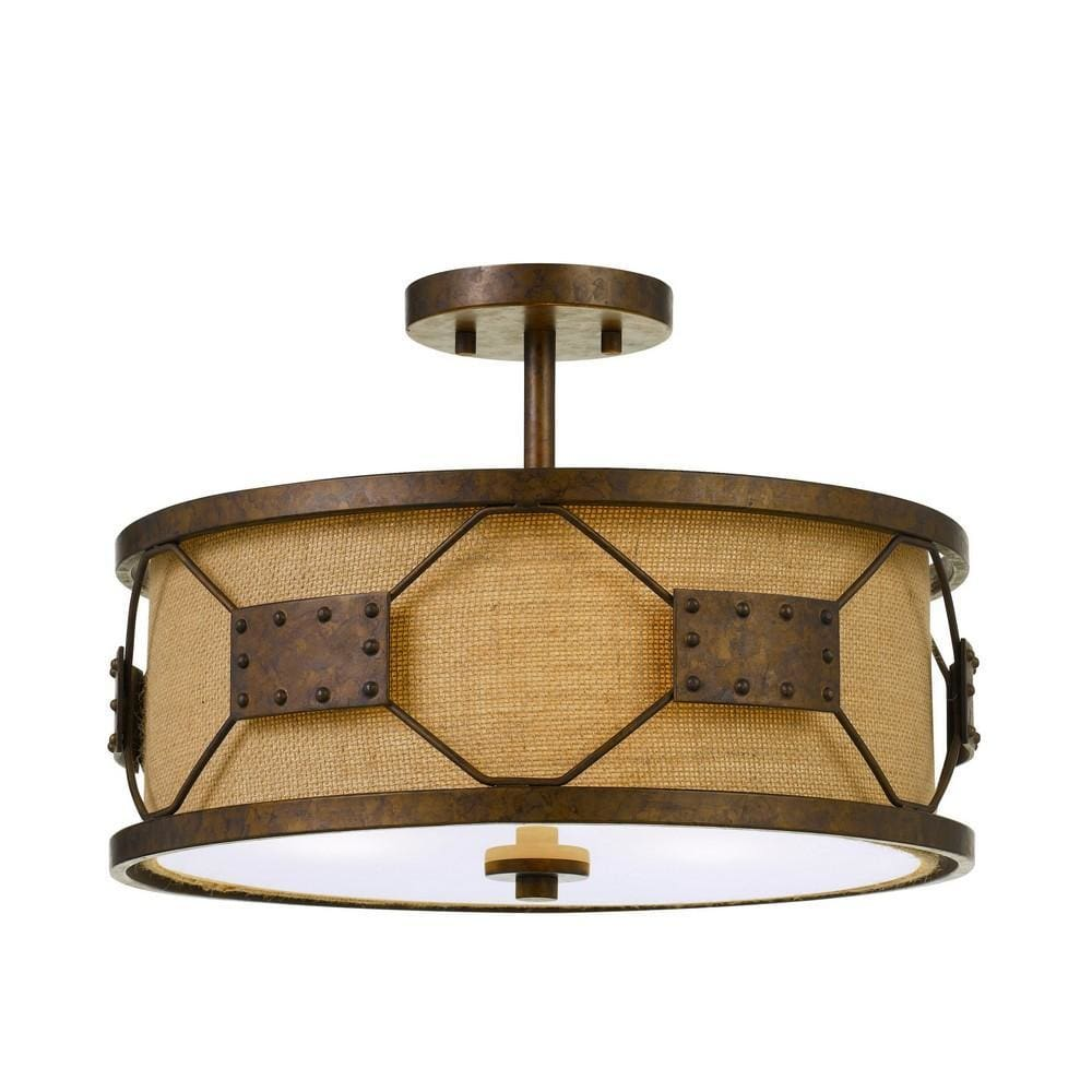Metal Frame Drum Shade Pendant Fixture with Lattice Design, Rustic Bronze By Casagear Home