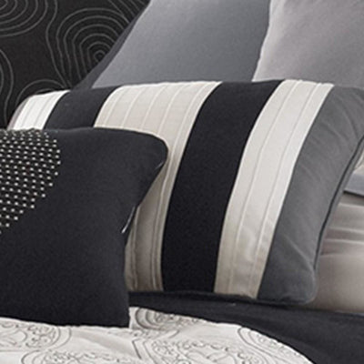 7 Piece Queen Cotton Comforter Set with Geometric Print Gray and Black By Casagear Home BM225150