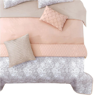 8 Piece Queen Comforter and Coverlet Set with Floral Swirl Pattern Pink By Casagear Home BM225222