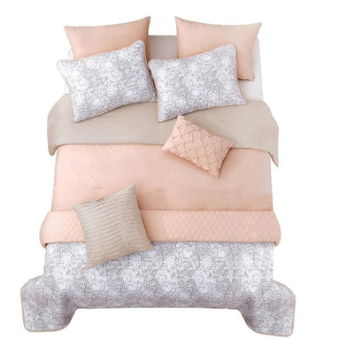 8 Piece Queen Comforter and Coverlet Set with Floral Swirl Pattern, Pink By Casagear Home