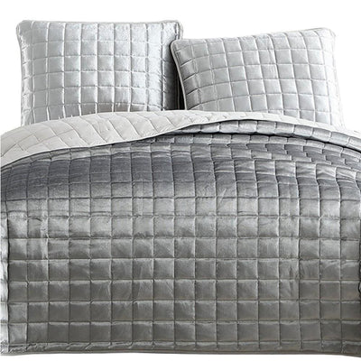 3 Piece King Size Coverlet Set with Stitched Square Pattern Silver By Casagear Home BM225241
