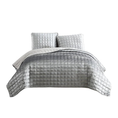 3 Piece King Size Coverlet Set with Stitched Square Pattern, Silver By Casagear Home