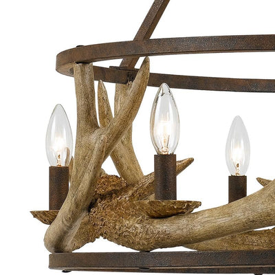 6 Bulb Metal Frame Chandelier with Resin Antler Design,Dark Bronze and Gold By Casagear Home BM225617