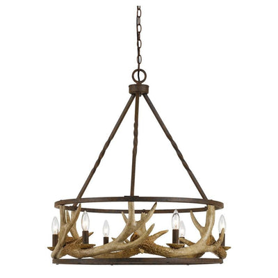 6 Bulb Metal Frame Chandelier with Resin Antler Design,Dark Bronze and Gold By Casagear Home