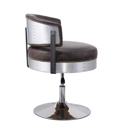 30 Swivel Leatherette Adjustable Accent Chair,Brown & Chrome By Casagear Home BM225675