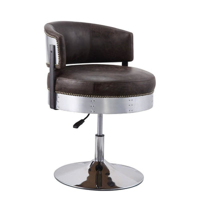 "30"" Swivel Leatherette Adjustable Accent Chair,Brown & Chrome By Casagear Home"