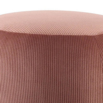 18 Fabric Round Ottoman with Metal Legs Pink and Gold By Casagear Home BM225678