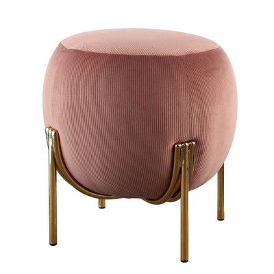 "18"" Fabric Round Ottoman with Metal Legs, Pink and Gold By Casagear Home"