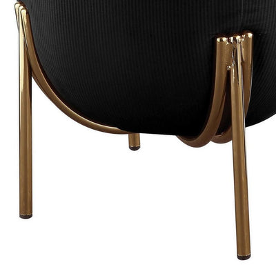 18 Fabric Round Ottoman with Metal Legs Black and Gold By Casagear Home BM225679