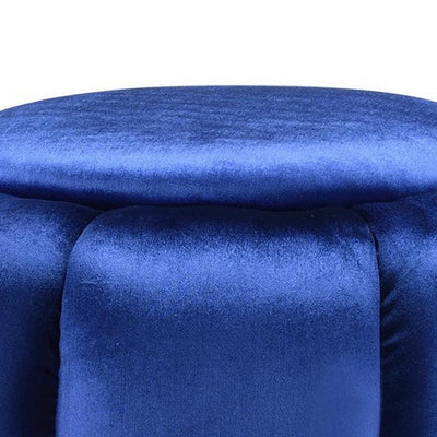 17 Tufted Round Ottoman with Metal Base Blue and Gold By Casagear Home BM225684