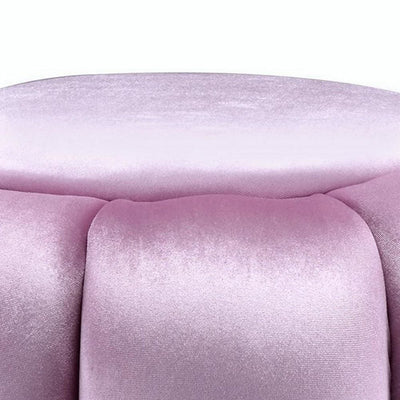 17 Tufted Round Ottoman with Metal Base Pink and Gold By Casagear Home BM225685
