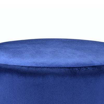 16 Fabric Upholstered Round Ottoman with Fringes Dark Blue By Casagear Home BM225686