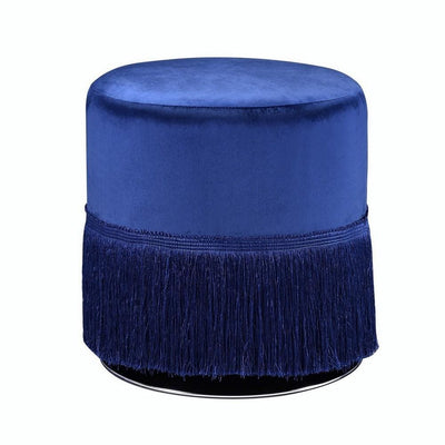 "16"" Fabric Upholstered Round Ottoman with Fringes, Dark Blue By Casagear Home"