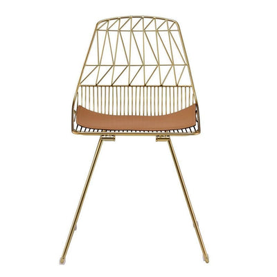 31 Metal Side Chair with Geometric Backrest Set of 2 Gold By Casagear Home BM225691
