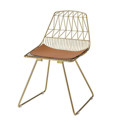 "31"" Metal Side Chair with Geometric Backrest, Set of 2, Gold By Casagear Home"