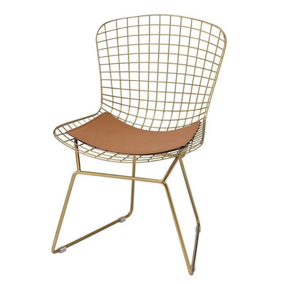 "33"" Cage Design Metal Side Chair, Set of 2, Gold By Casagear Home"