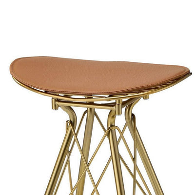 30 Inch Metal Backless Barstool with Braces Set of 2 Gold By Casagear Home BM225693