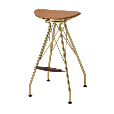 30 Inch Metal Backless Barstool with Braces, Set of 2, Gold By Casagear Home