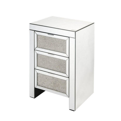 3 Drawer Faux Diamond & Beveled Mirrored Nightstand, Silver By Casagear Home